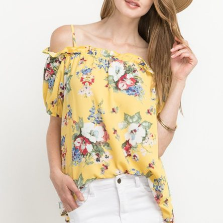 YELLOW FLORAL OFF THE SHOULDER TOP- T7393