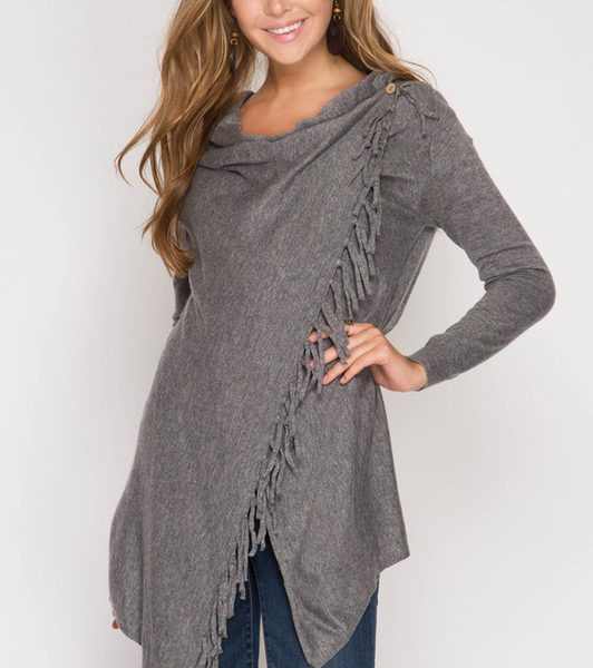 GREY FRINGE TRIM WRAP CARDIGAN