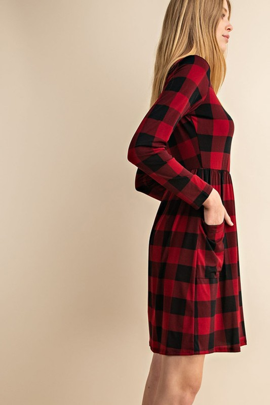 f96f5fba847 BLACK RED BUFFALO PLAID DRESS