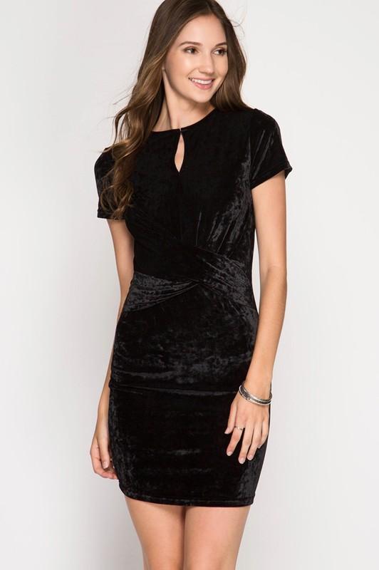 Black Crushed Velvet Bodycon Dress